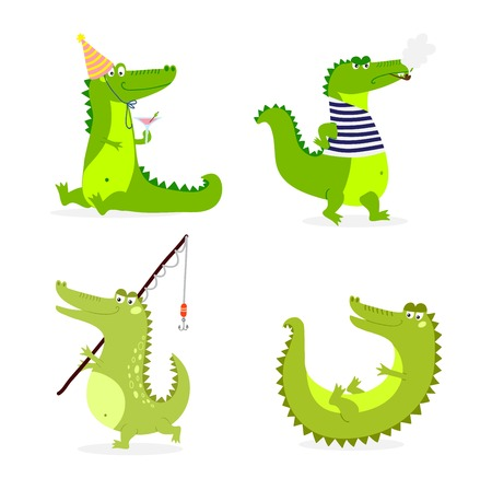 predator: Cute cartoon crocodile character green zoo animal. Cute crocodile character doodle animal like a toy with teeth. Happy predator crocodile character mascot comic color vector icon. Illustration