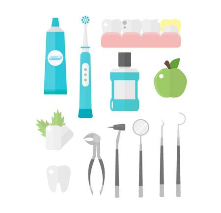 dental chair: Dental icons vector set mouthwash collection. Medical forceps tools supplies orthopedic dental chair dental icons. Toothbrush hygiene implant health dental icons. Health care equipment. Illustration