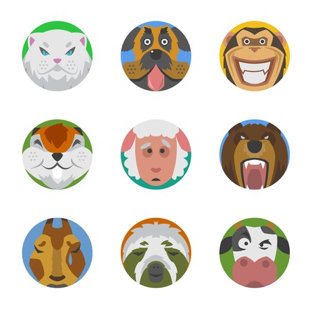 geïsoleerde schattige dieren emoties iconen pretreeks gezicht. Gelukkig karakter grappige Emoji ingesteld comic schattig huisdier. Dieren emoties pictogrammen flat set glimlach uitdrukking collectie. Wild avatar emoticon comic icons. Stock Illustratie