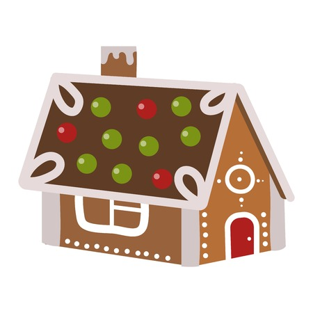 Vector illustration of a gingerbread house. Gingerbread house christmas sweet cookie snow icing xmas decoration. Gingerbread house traditional seasonal celebration sugar holiday dessert.