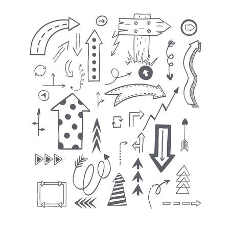 orientation: Vector illustration of black arrow icons hand drawn sketch. Right orientation navigation direction arrows icons. Simple hand drawn application upload arrows icons circle redo previous design.