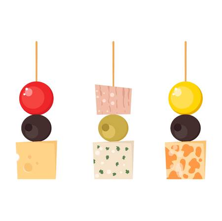 starter: Set kinds of festive snacks canapes prepared isolated sandwich meat dish. Fresh banquet canape snacks meal gourmet bread party delicious vector. Tasty restaurant catering starter lunch canape snacks. Illustration