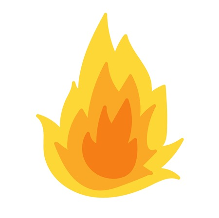 fire flame: Fire flame hot burn vector icon. Warm danger fire flame and cooking yellow bonfire. Light blazing campfire ignite fire flame design and detail fireplace passion sign. Illustration