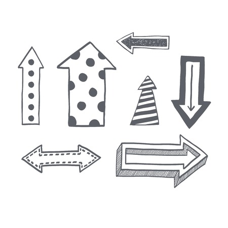Vector illustration of black arrow icons hand drawn sketch. Right orientation navigation direction arrows icons. Simple hand drawn application upload arrows icons circle redo previous design.