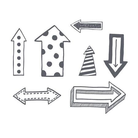Vektor-Illustration der schwarzen Pfeil-Symbole hand gezeichneten Skizze. Rechts Orientierung Navigation Richtungspfeile Symbole. Einfache Hand gezeichnet Anwendung Upload-Pfeile-Symbole Kreis wiederholen vorherigen Design. Standard-Bild - 67722497