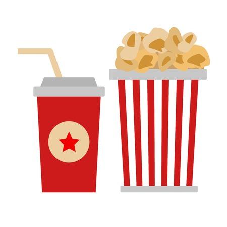 Popcorn box vector icon isolated flat style. Popcorn cinema vector illustration. red box popcorn opened. Cinema fast food