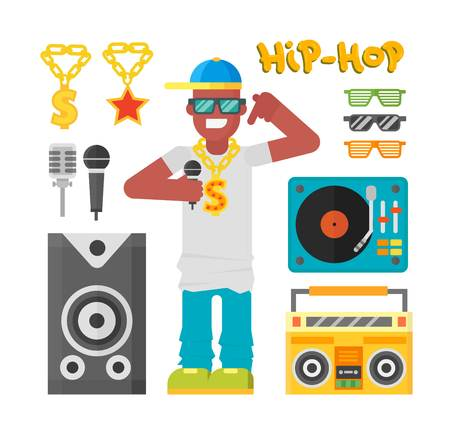 hip hop man: Hip hop man musician with microphone breakdance expressive rap portrait. Modern young hip hop man fashion person adult people. Hip hop man dancer trendy lifestyle urban handsome black rapper guy.