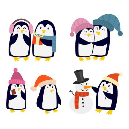 Penguin set vector illustratie karakter. Cartoon grappige pinguïns verschillende situaties. Penguin vector leuke vogels poseren. Kerst vakantie penguins