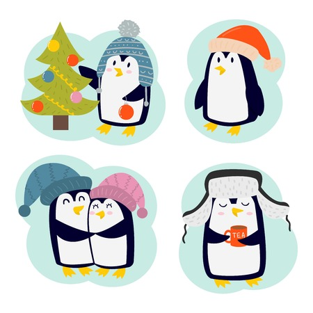 scarp: Penguin set illustration character. Cartoon funny penguins different situations. Penguin cute birds posing. Christmas holiday penguins