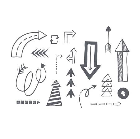orientation: illustration of black arrow icons drawn sketch. Right orientation navigation direction arrows icons. Simple drawn application upload arrows icons circle redo previous design.