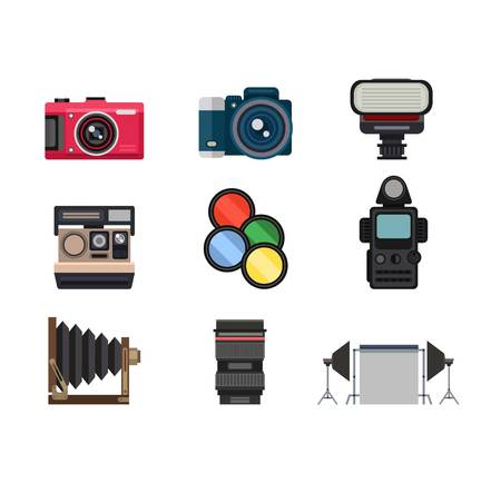 photography icons: Photography icons vector set creative design pictures in flat style. Photo studio icons digital, equipment, set. Vector lens light film tripod isolated collection photo studio icons. Illustration