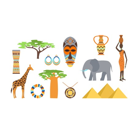 africa baobab tree: African symbols and travel safari icon, travel element set. Poster African symbols design african ethnic set. Travel art south icon Africa symbols and ancient animal travel vector design. Illustration