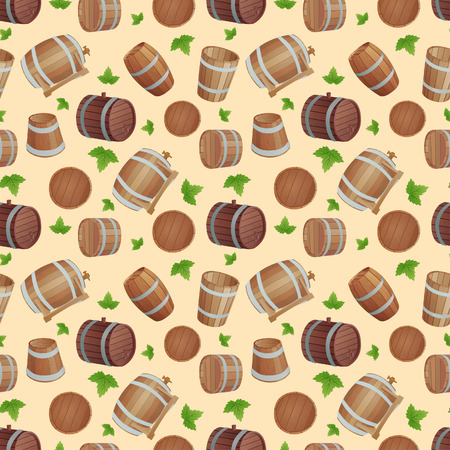 storage container: Row of wooden barrels of tawny portwine in cellar. Vintage old style wooden barrels oak storage container. Wooden barrels keg vintage beer cask drink rustic ferment store tradition container vector. Illustration