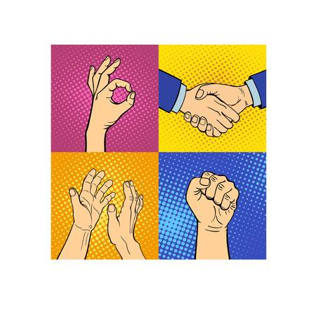 okey: Human hands popart style different pose emotions and signal human fingers. Human hands isolated. Silhouette of hands showing symbols finger thumb vector illustration. Human emotions symbols
