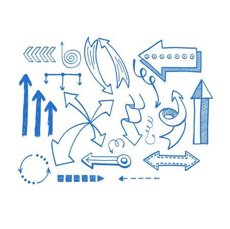 redo: Vector illustration of arrow icons hand drawn sketch. Right orientation navigation direction arrows icons. Simple hand drawn application upload arrows icons circle redo previous design.