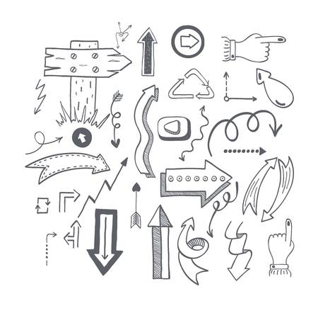 application recycle: Vector illustration of black arrow icons hand drawn sketch. Right orientation navigation direction arrows icons. Simple hand drawn application upload arrows icons circle redo previous design.