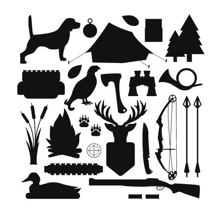 Set Of Vintage Hunting Symbols Set Of Hunting And Camping Objects
