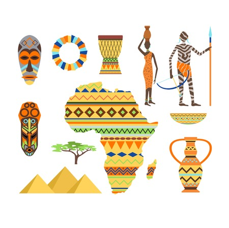African Symbols And Travel Safari Icon Travel Element Set Poster