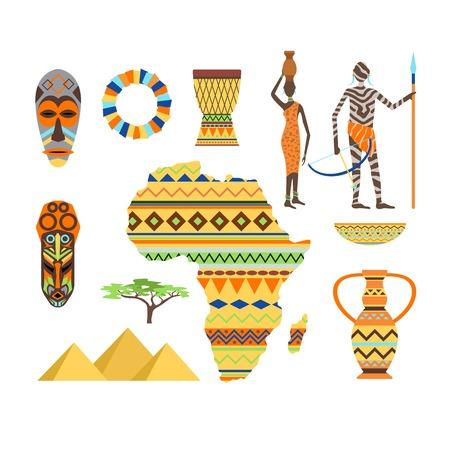 African symbols and travel safari icon, travel element set. Poster African symbols design african ethnic set. Travel art south icon Africa symbols and ancient animal travel vector design. Illustration