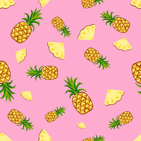 Cartoon fresh fruits in flat style. pineapple seamless pattern. Fruits seamless patterns food summer design wallpaper . Illustration