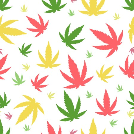 narcotic: Green marijuana background illustration. marihuana background leaf pattern repeat seamless repeats. Marijuana leaf background herb narcotic textile pattern. Different patterns. Illustration