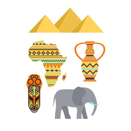African Symbols And Travel Icon Travel Element Set Poster African