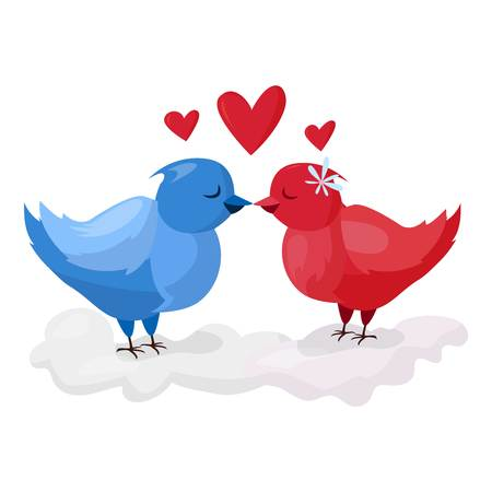 Doves couple with hearts  icon illustration. Dove cartoon style birds fly with two hearts couple. Valentine Day or Wedding card design. Valentine greeting card with two wedding doves