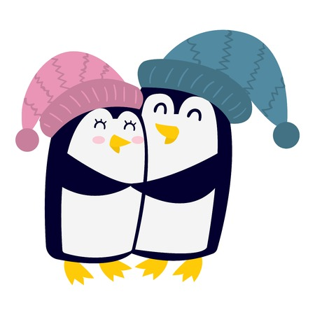 Penguin couple illustration character