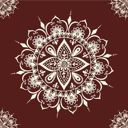 Floral seamless mehendi pattern ornament. illustration mehendi pattern in asian textile style india tribal ornate. Ethnic ornamental lace vintage mehendi pattern mandala abstract textile