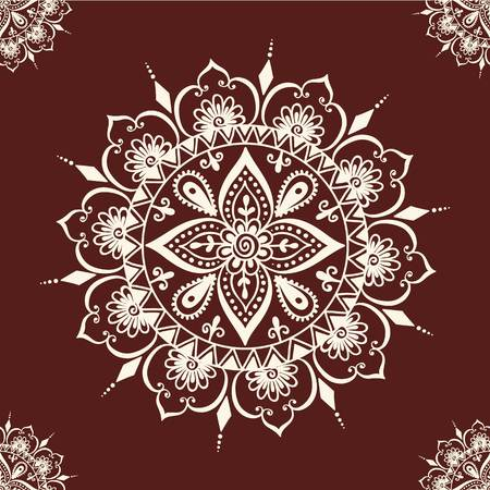 Floral seamless mehendi pattern ornament. illustration mehendi pattern in asian textile style india tribal ornate. Ethnic ornamental lace vintage mehendi pattern mandala abstract textile