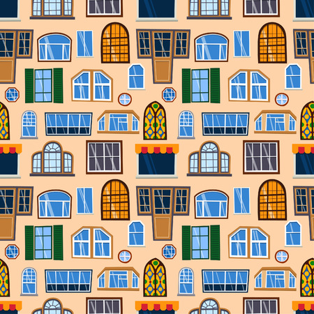 Different types house windows vector elements isolated on background. Windows elements flat vector style. Vector windows frames