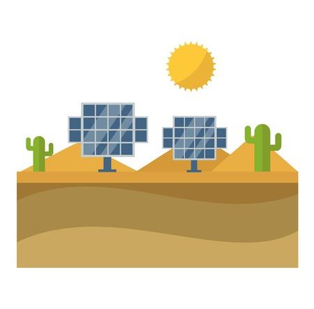 Vector sun solar energy icon. Sun solar energy symbols electricity technology renewable ecology. Industrial clean electrical sun solar energy alternative panel modern innovation generator.