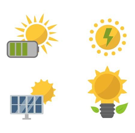 sun energy: Vector sun solar energy icon set. Sun solar energy symbols electricity technology renewable ecology. Industrial clean electrical sun solar energy alternative panel modern innovation generator.