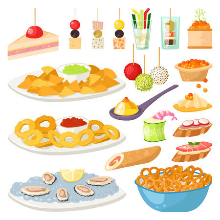 starter: Various meat, fish and cheese banquet snacks on banquet platter. Canape snacks appetizer cheese cuisine buffet delicious. Vector canape snacks appetizer tasty starter restaurant catering.
