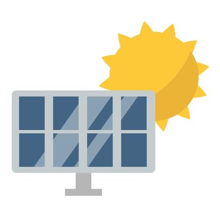 clean energy: Vector sun solar energy icon. Sun solar energy symbols electricity technology renewable ecology. Industrial clean electrical sun solar energy alternative panel modern innovation generator.