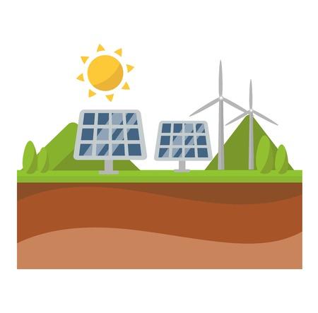 fuel and power generation: Vector sun solar energy icon. Sun solar energy symbols electricity technology renewable ecology. Industrial clean electrical sun solar energy alternative panel modern innovation generator.