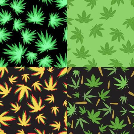 Green marijuana background vector illustration. set marijuana background leaf pattern repeat seamless repeats. Marijuana leaf background herb narcotic textile pattern. Different vector patterns. Illustration