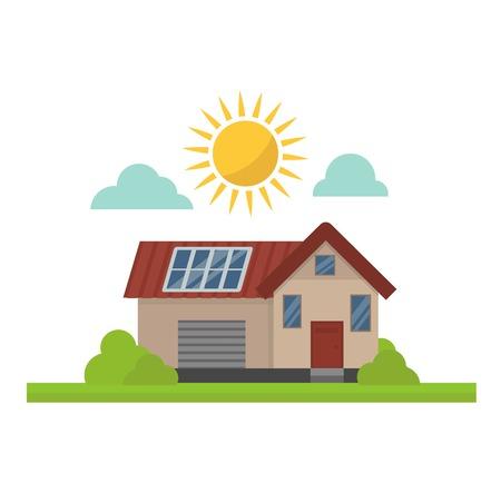 clean energy: Vector sun solar energy icon. Sun solar energy symbols electricity technology house renewable ecology. Industrial clean electrical sun solar energy alternative panel modern innovation generator. Illustration