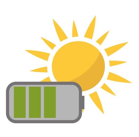 electrical panel: Vector sun solar energy icon. Sun solar energy symbols electricity technology renewable ecology. Industrial clean electrical sun solar energy alternative panel modern innovation generator.