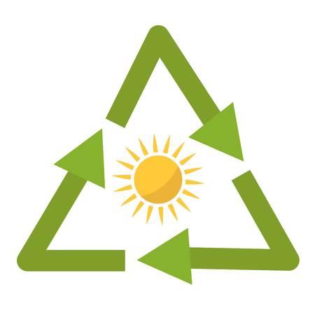 sun energy: Vector sun solar energy icon. Sun solar energy symbols electricity technology renewable ecology. Industrial clean electrical sun solar energy alternative panel modern innovation generator.