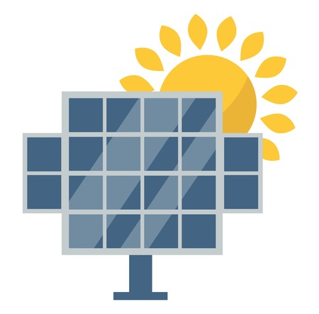 collectors: Vector sun solar energy icon. Sun solar energy symbols electricity technology renewable ecology. Industrial clean electrical sun solar energy alternative panel modern innovation generator.
