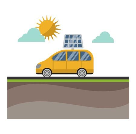 sun energy: Vector sun solar energy icon electric car. Sun solar energy symbols electricity technology renewable ecology. Industrial electrical sun solar energy alternative panel modern innovation generator.