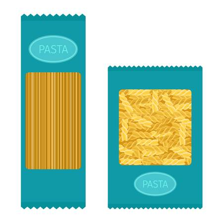 Different types of pasta. Whole wheat pasta, pasta, corn, rice noodles. Kitchen yellow nutrition dinner pasta products. Cooking spaghetti italy traditional ingredient pasta products. Stock Illustratie