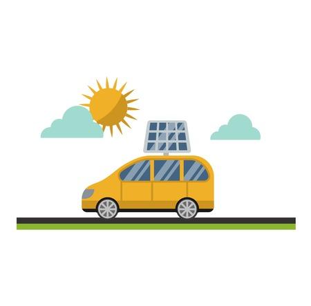 Vector sun solar energy icon electric car. Sun solar energy symbols electricity technology renewable ecology. Industrial electrical sun solar energy alternative panel modern innovation generator.