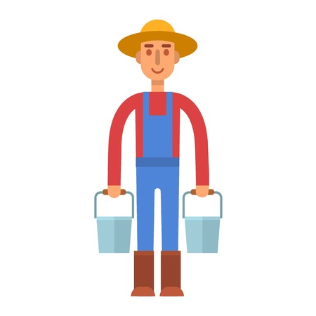 cultivated: Farmer gardener flat agriculture icons isolated vector. Organic person man farmer agriculture, food cultivated. Country agricultural countryside farmers rural healthy field male. Illustration