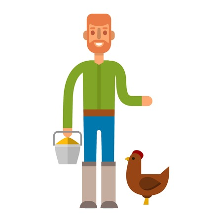 Farmer gardener flat agriculture icons isolated vector. Organic person man farmer agriculture, food cultivated. Country agricultural countryside farmers rural healthy field male. Illustration