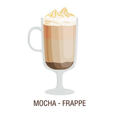 fredo: Coffee cups different cafe drinks types mocha frappe mug with foam beverage breakfast morning sign vector. Coffee cups breakfast and morning coffee cups. Coffee cups with foam, different foam coffee.