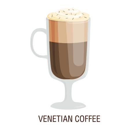 fredo: tazze di caffè diversi tipi di bevande caffè veneziano tazza di caffè con colazione schiuma bevanda segno mattina vettore. Tazze di caffè prima colazione e la mattina tazza di caffè