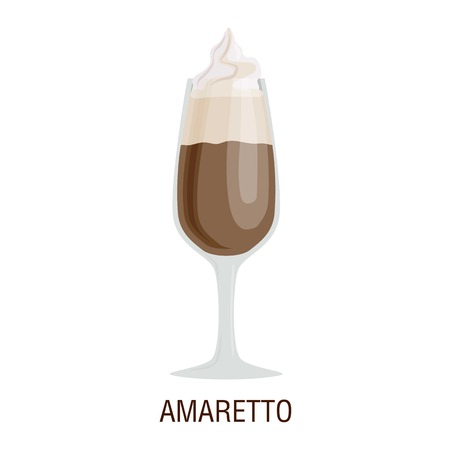 fredo: Coffee cups different cafe drinks types amaretto mug with foam beverage breakfast morning sign vector. Coffee cups breakfast and morning coffee cups. Coffee cups with foam, different foam coffee.