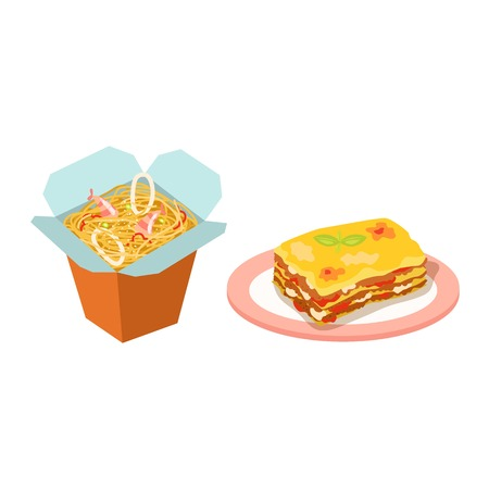 lasagna: Different types of pasta. Whole wheat pasta, pasta, corn, rice noodles. Kitchen yellow nutrition dinner pasta products. Cooking spaghetti italy traditional ingredient pasta products. Illustration